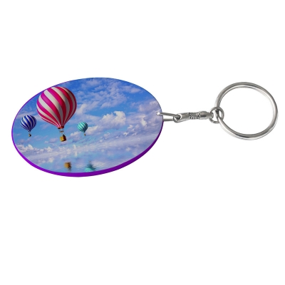 Oval Plastic Keychain 48*68mm(Color Edge)-Purple