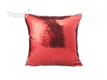 Flip Sequin Pillow Cover (Red w/ Silver)