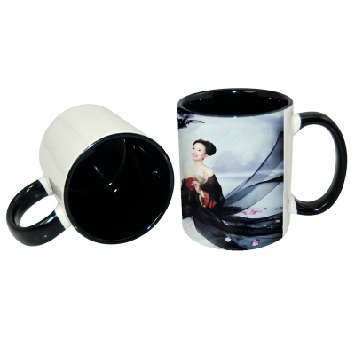 11oz Inner Rim Color Mug-Black
