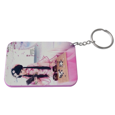 Rectangular Plastic Keychain 57*82mm(Color Edge)-pink