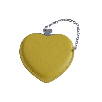 Heart Hand Mirror with Leather Pink Case-Yellow