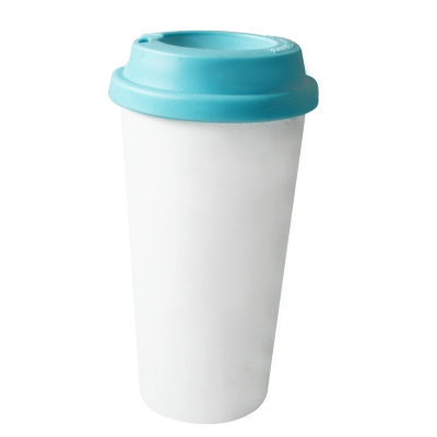 450ml Double Wall Sublimation Tumble(Flat Cover)-Light Blue