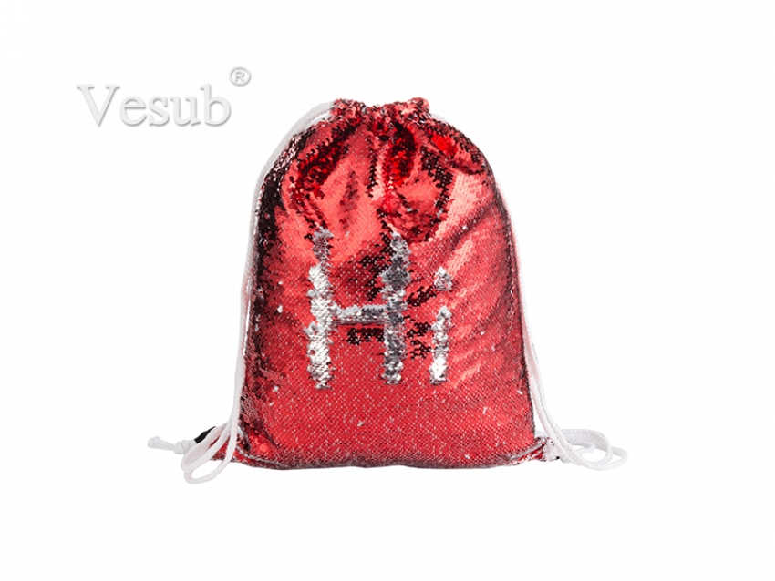 Sequin Drawstring Backpack (Red/Silver)