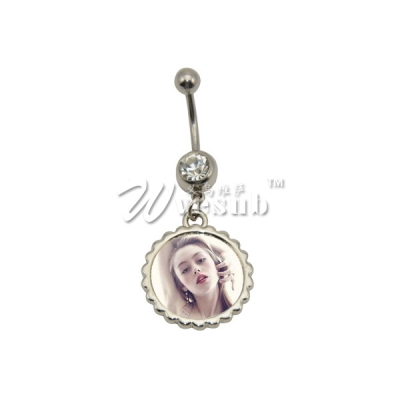 Fashion Personalized Sublimation Zinc Alloy Round Belly Button Ring