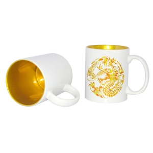High Quality 11oz Two-Tone Coated inside Color Mug-Gold