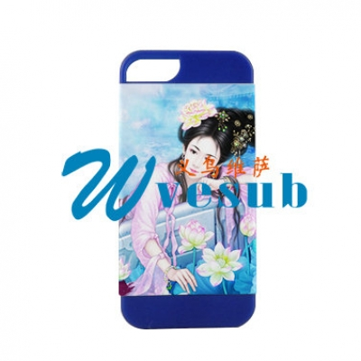 2 in 1 3D iPhone5  Frosted Card Insert Cover-Blue
