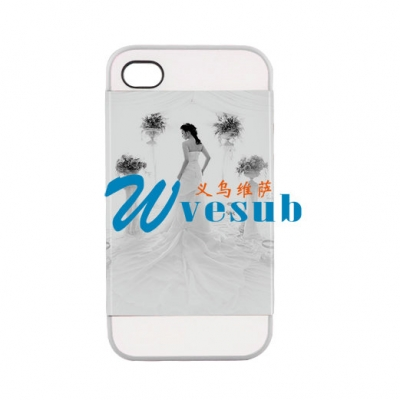 2 in 1 3D iPhone 4/4S Frosted Card Insert Cover-White