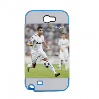 2 in 1 3D Samsung Galaxy Note II Frosted Card Insert Cover-Light Blue