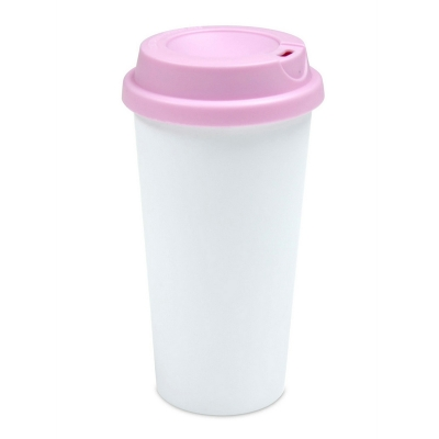 450ml Double Wall Sublimation Tumble(Flat Cover)-Pink
