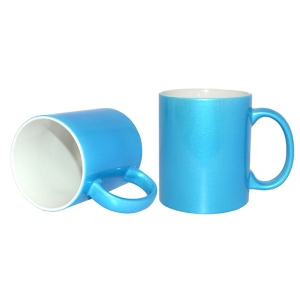 11oz Sublimation Heat Transfer Printable Sparking Mug for Customized Commercial Logo-Light Blue