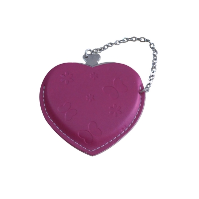 Heart Hand Mirror with Leather Pink Case-Purplish Red