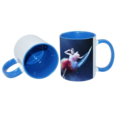 11oz Inner Rim Color Mug-Middle Blue