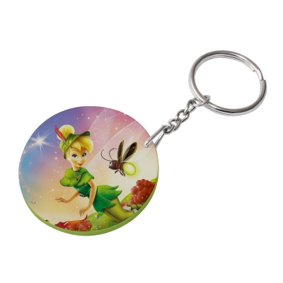 47mm Round Plastic Keychain(Color Edge)-Light Green