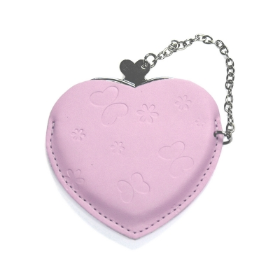 Heart Hand Mirror with Leather Pink Case-Pink