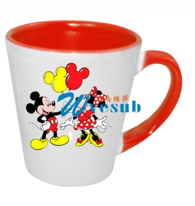 12oz Sublimation Inner Rim Red Cone Mug
