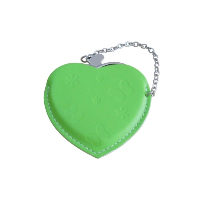 Heart Hand Mirror with Leather Pink Case-Green