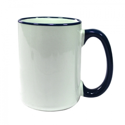 15oz Rim Handle Mug-Dark Blue