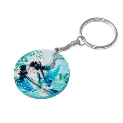 39mm Round Plastic Keychain(Color Edge)-Light Blue