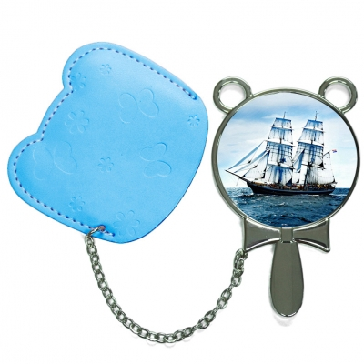 Round Hand Mirror with Leather Pink Case-Light Blue