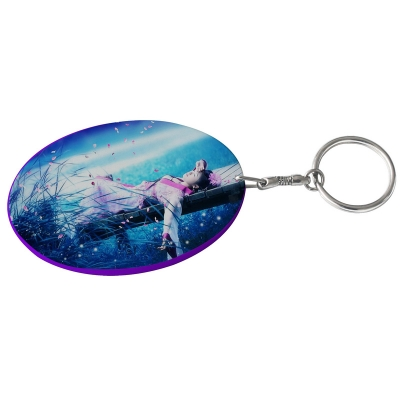 Oval Plastic Keychain 57*82mm(Color Edge)-Purple