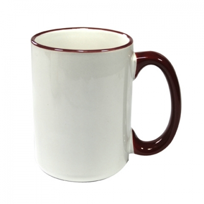 15oz Rim Handle Mug-Maroon