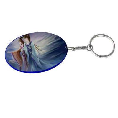 Oval Plastic Keychain 48*68mm(Color Edge)-Dark Blue