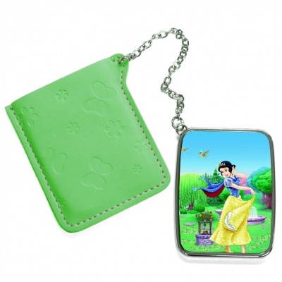 Rectangular Hand Mirror with Pink Leather Case-Green