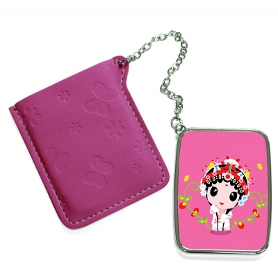 Rectangular Hand Mirror with Pink Leather Case-Purplish Red