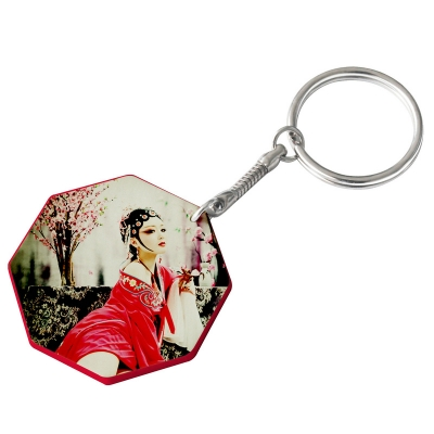 44mm Octangle Plastic Keychain(Color Edge)-Red