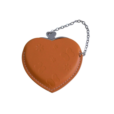 Heart Hand Mirror with Leather Pink Case-Orange