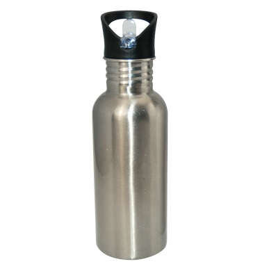 600ml Stainless Steel Bottle With Staw Top-Silver
