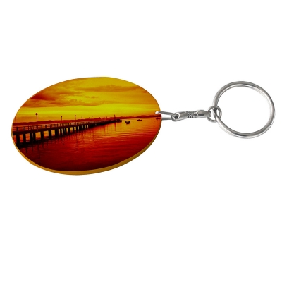 Oval Plastic Keychain 48*68mm(Color Edge)-Orange