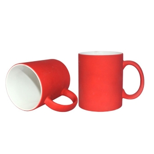 New 11oz Sublimation Frosted Full Color Mugs-Reddish Orange