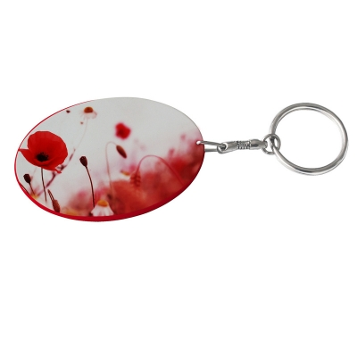 Oval Plastic Keychain 48*68mm(Color Edge)-Red