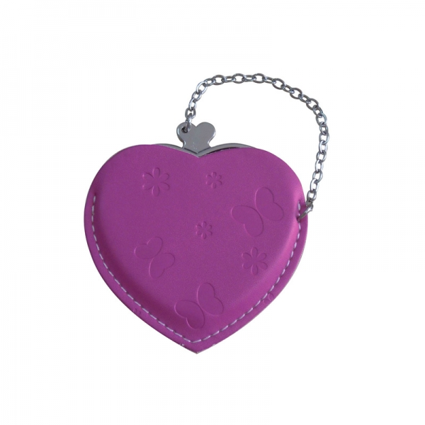 Heart Hand Mirror with Leather Pink Case-Maroon