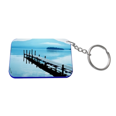 Rectangular Plastic Keychain 48*68mm(Color Edge)-Dark Blue