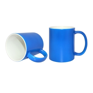 Sublimation 11oz Frosted Full Color Coated Ceramic Coffee Mug-Blue