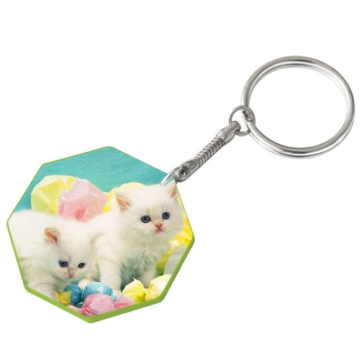 44mm Octangle Plastic Keychain(Color Edge)-Light Green