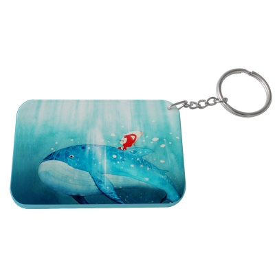 Rectangular Plastic Keychain 57*82mm(Color Edge)-Light Blue