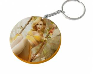 60mm Thick Round Plastic Keychain(Color Edge)-Orange