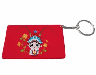 Credit Card Plastic Keychain 53*85mm(Color Edge)-Red