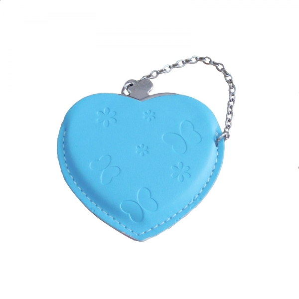Heart Hand Mirror with Leather Pink Case-Light Blue