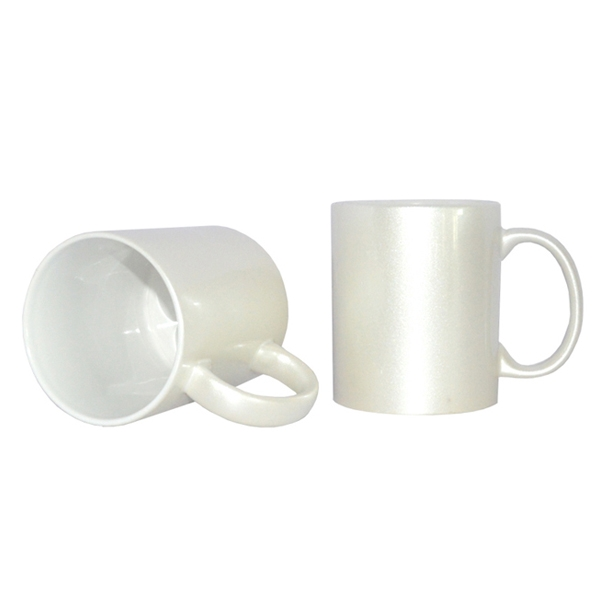 Wholesale Sublimation 11oz Sparking Ceramic Milk/Coffee Mug-Pearl White
