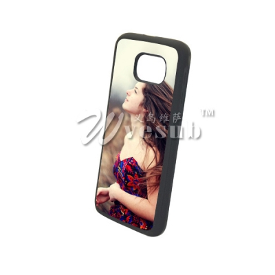 High Quality Customized Logo TPU Sublimation Samsung Galaxy S6 Cover with Alu Insert-Black