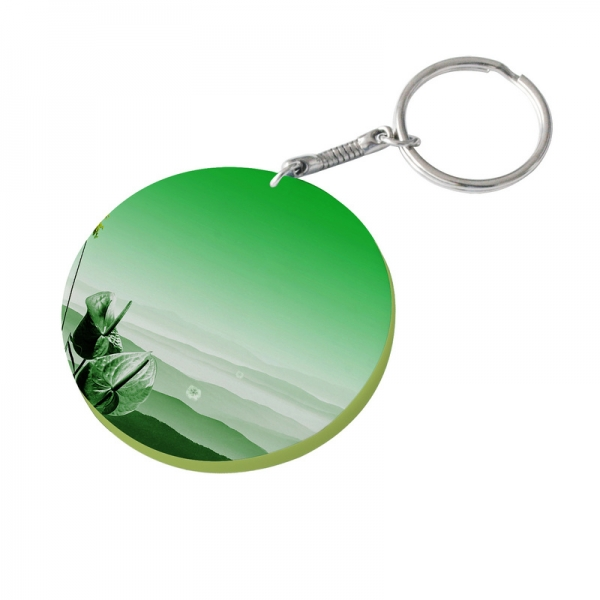60mm Thick Round Plastic Keychain(Color Edge)-Light Green