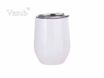 12oz Stainless Steel Stemless Wine Cup (White)