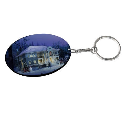 Oval Plastic Keychain 48*68mm(Color Edge)-Black