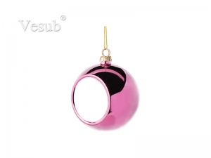 8cm Plastic Christmas Ball Ornament (Rose red)