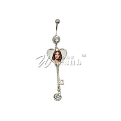 Fashion Sublimation Zinc Alloy Belly Button Ring(Heart)