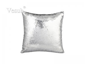 Flip Sequin Pillow Cover (Silver w/ Black)